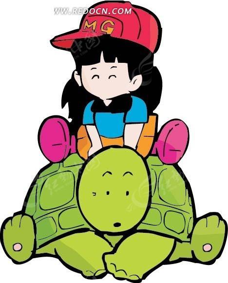 坐在海龟背上的可爱女孩卡通画