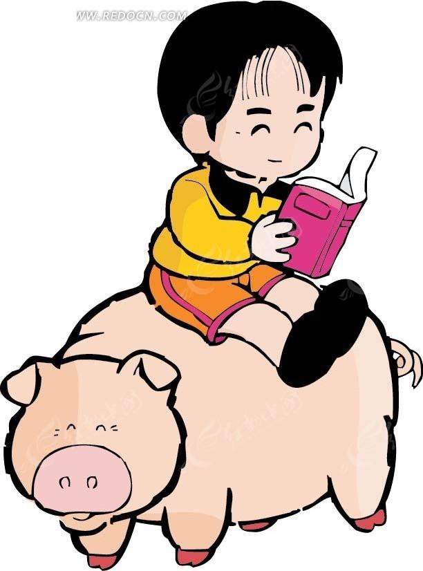 坐在猪身上看书的男孩卡通画矢量图AI免费下载 卡通形象素材