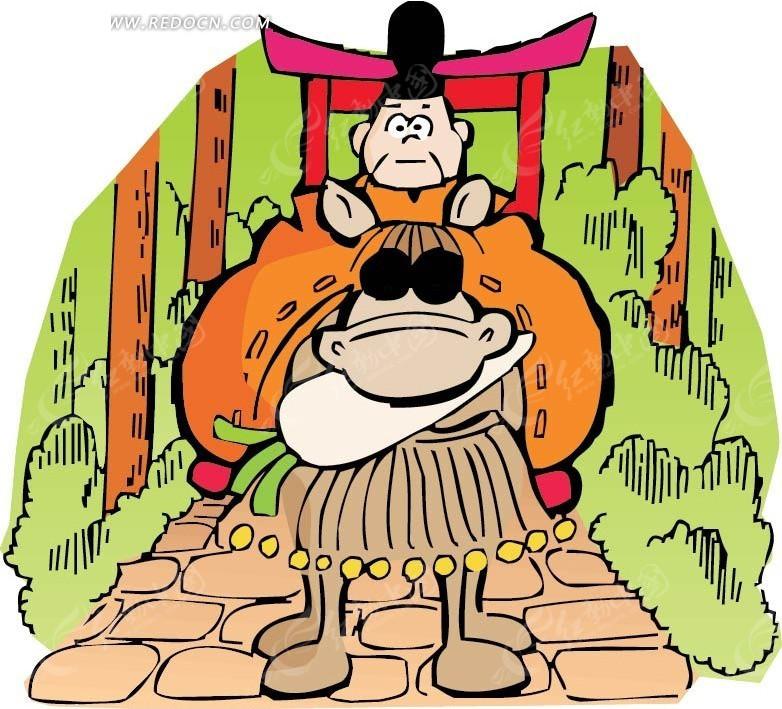 免费素材 矢量素材 矢量人物 卡通形象 坐着的古代官员卡通画