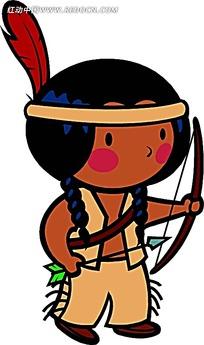 拉弓射箭的印第安美女卡通画