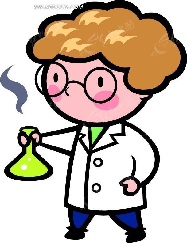 拿着锥形瓶的医生卡通画