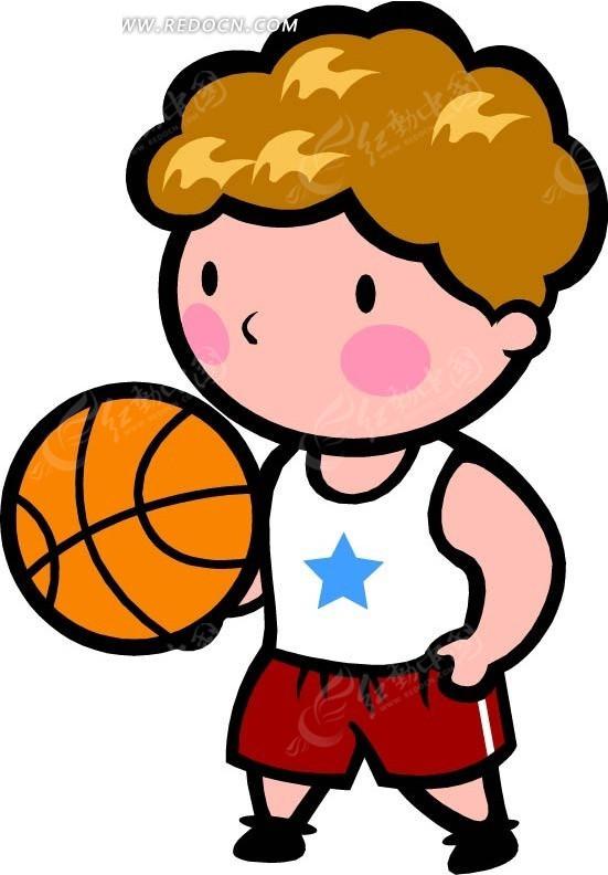 托着篮球的男孩卡通画