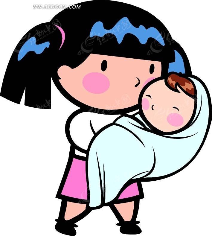 抱着婴儿的女孩卡通画