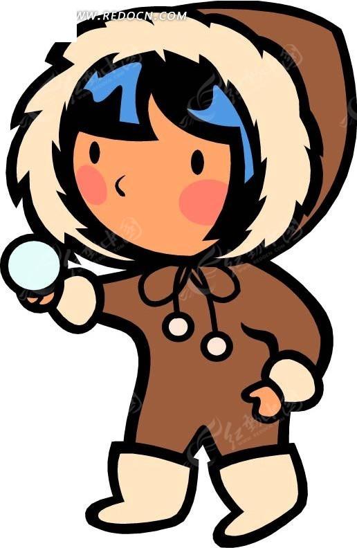 穿棉衣的女孩卡通画图片