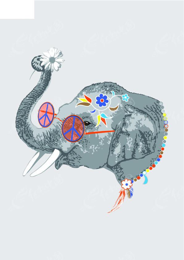 大象戏水简笔画彩色