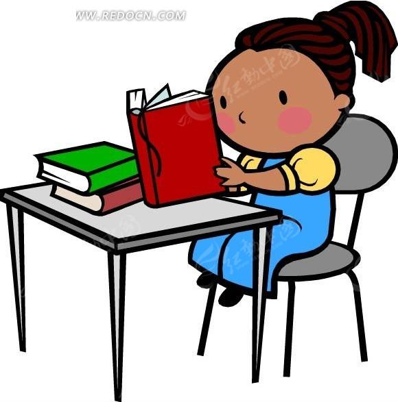 看书的女孩卡通画矢量图CDR免费下载 卡通形象素材图片