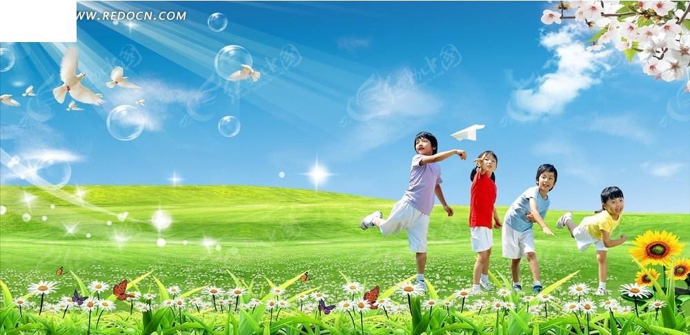 学生背影仰望天空画-蓝天白云儿童背景CDR素材免费下载 编号