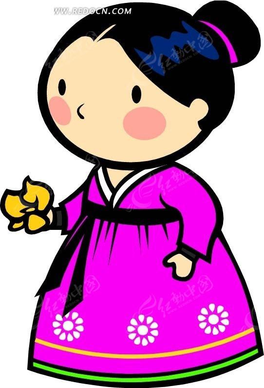 拿着花朵的朝鲜族女孩卡通画图片
