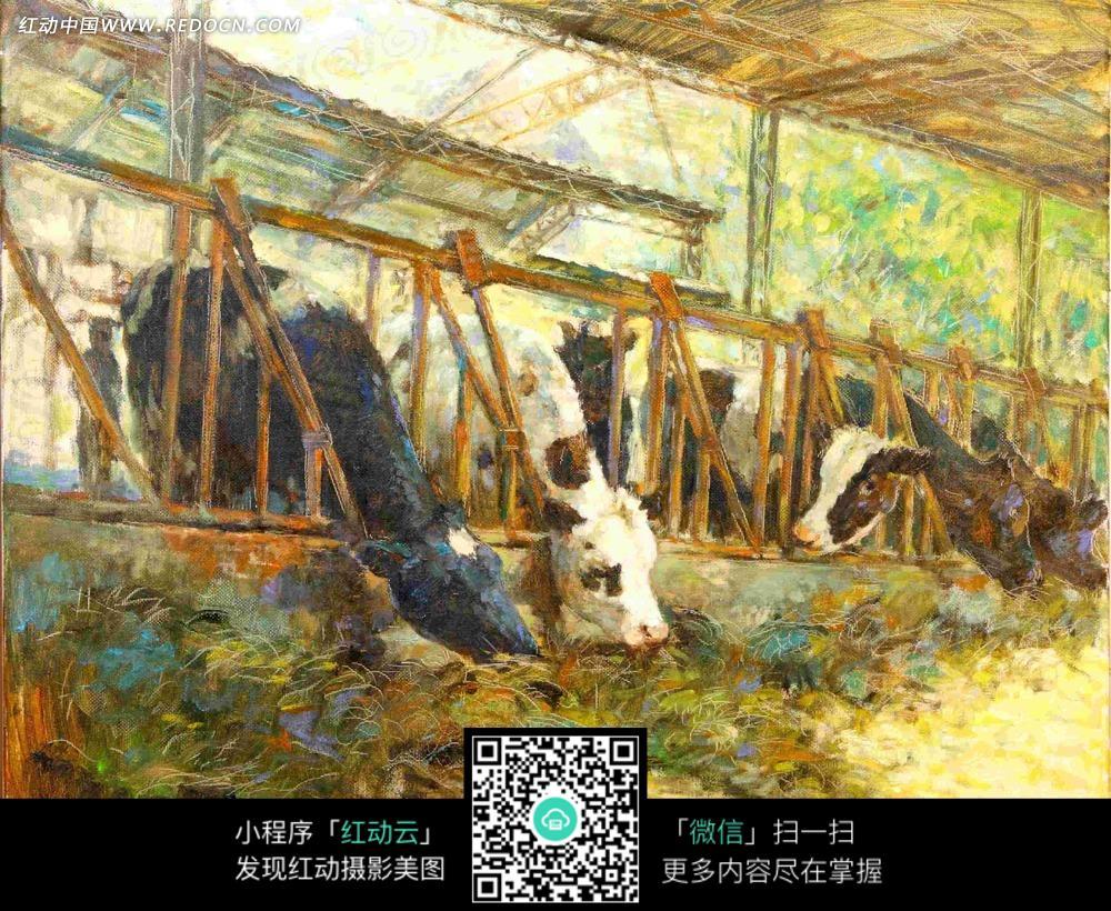 牛棚油画图片