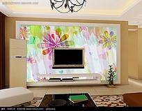 水彩花纹电视背景墙图片