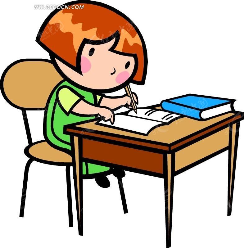 写字学习的女孩卡通画