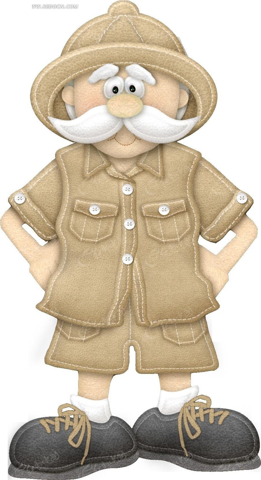免费素材 psd素材 psd分层素材 动物 布艺贴布卡通可爱探险老爷爷  请