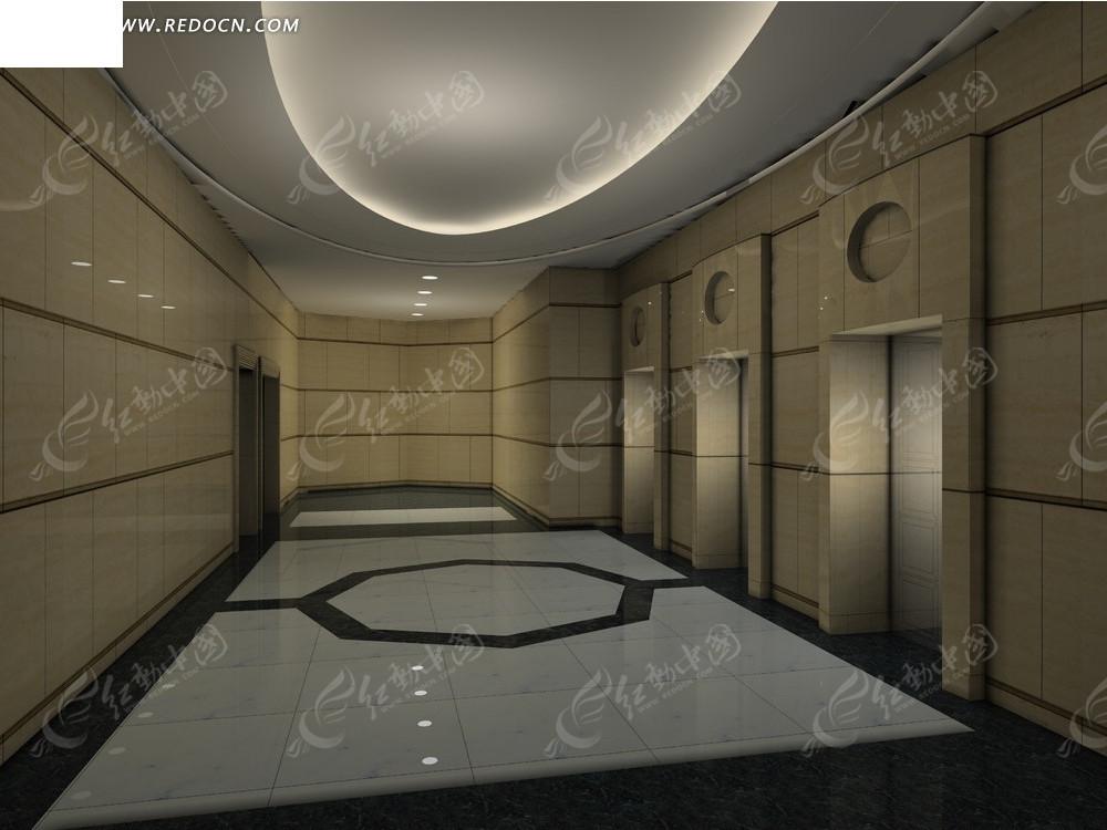 电梯过道3D效果图高清图片