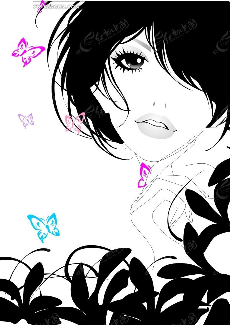 美女与蝴蝶插画