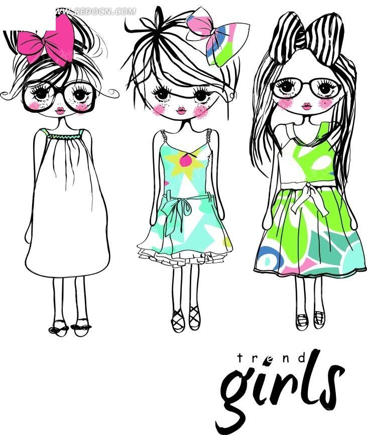 手绘时尚可爱小女孩插画矢量图