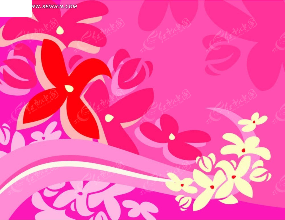 粉色手绘花卉素材