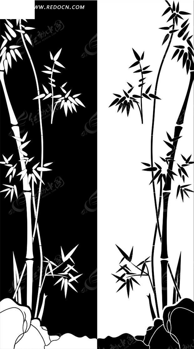 黑白印刷竹子