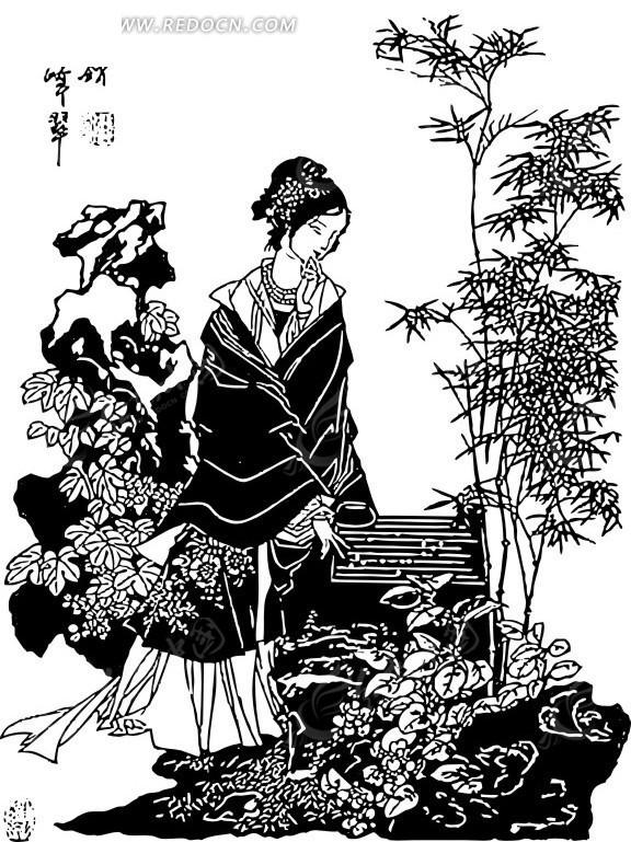 古典女性 竹子