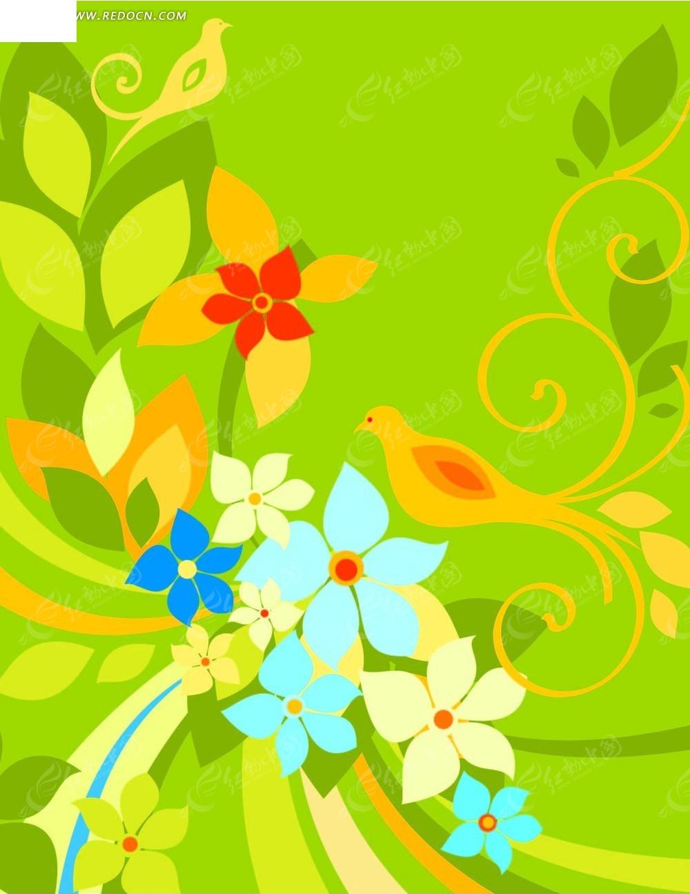 免费素材 矢量素材 花纹边框 底纹背景 > 手绘花卉素材  免费下载我要