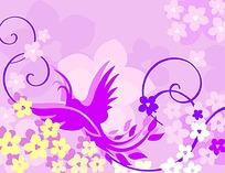 紫色凤凰图案