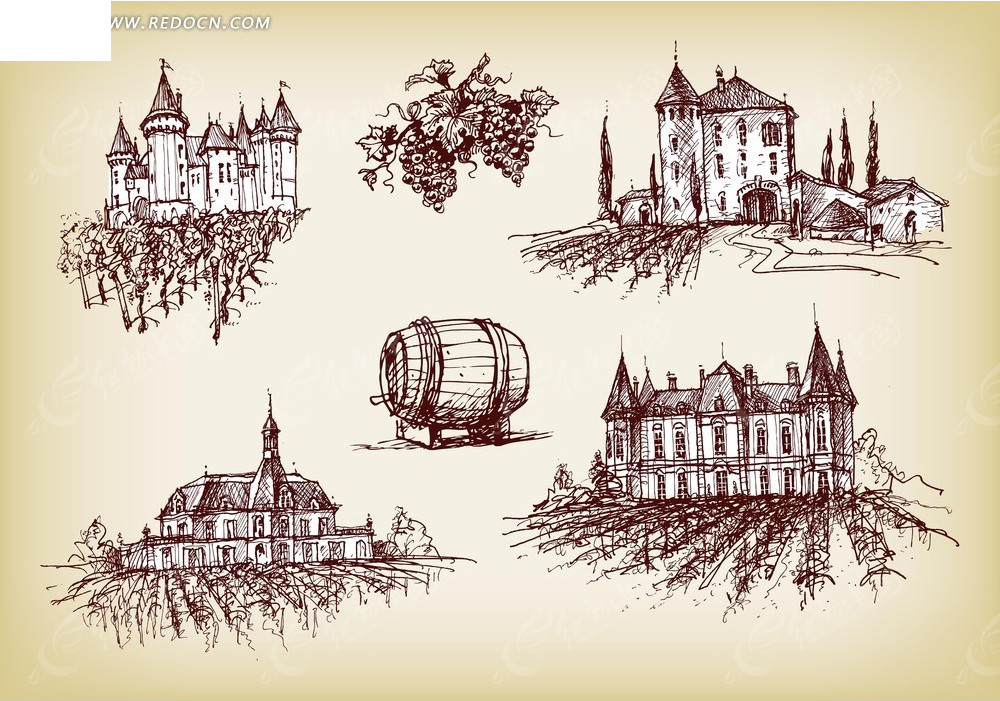 葡萄酒手绘素材图片