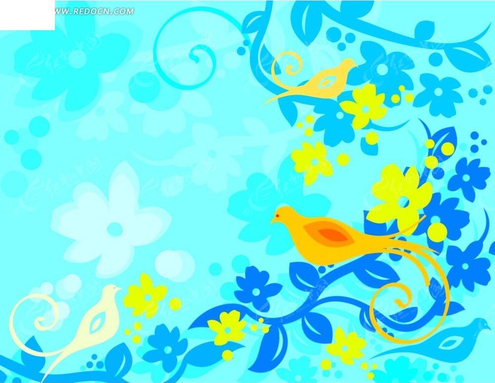 手绘蓝色凤凰素材图片
