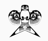 燕子风筝黑白图