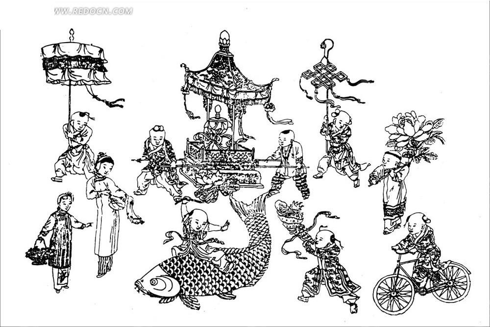 古代人物线描图