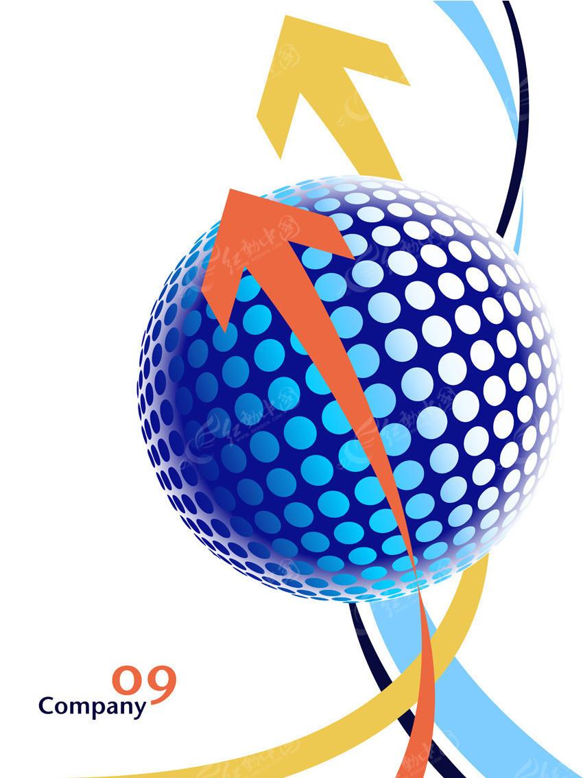 免费素材 矢量素材 广告设计矢量模板 其他模板 箭头曲线圆球素材  请图片