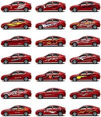 时尚红色汽车车贴素材