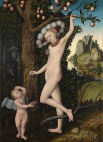 果树下的裸体女人和天使油画