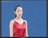 红色吊带的女演员视频素材