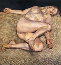 全腿躺着床上的裸体女人油画