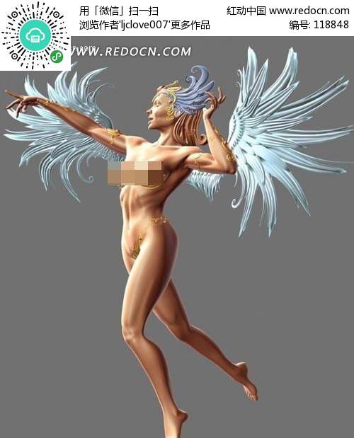 翅膀裸体美女3d模型下载