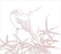 线条画的竹叶喜鹊图片