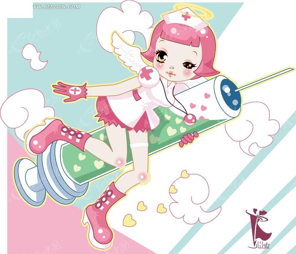 护士卡通形象_免费素材 矢量素材 矢量人物 卡通形象 小护士与注射器卡通插画  请您