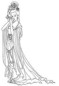 杨贵妃线描稿
