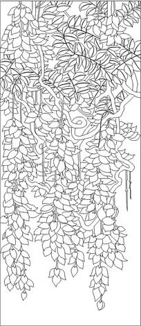 紫藤花雕刻图素材