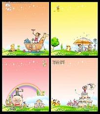儿童节卡通插画素材psd