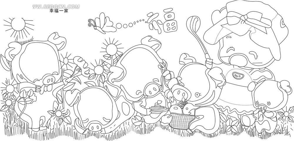 可爱卡通小猪手绘矢量图