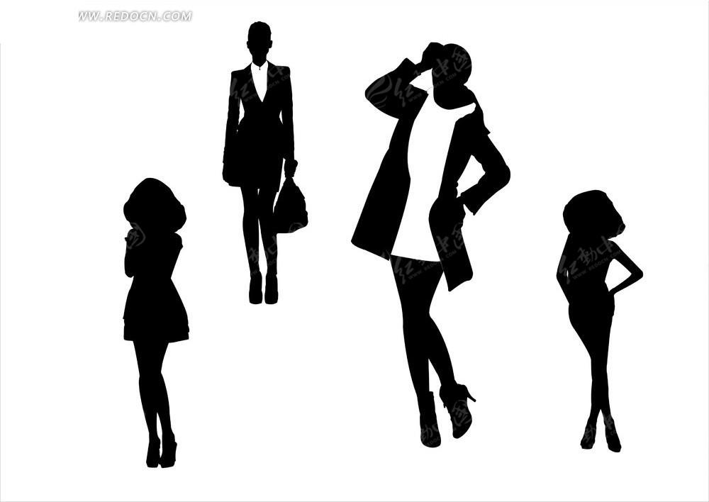 女性全身黑白剪影矢量图