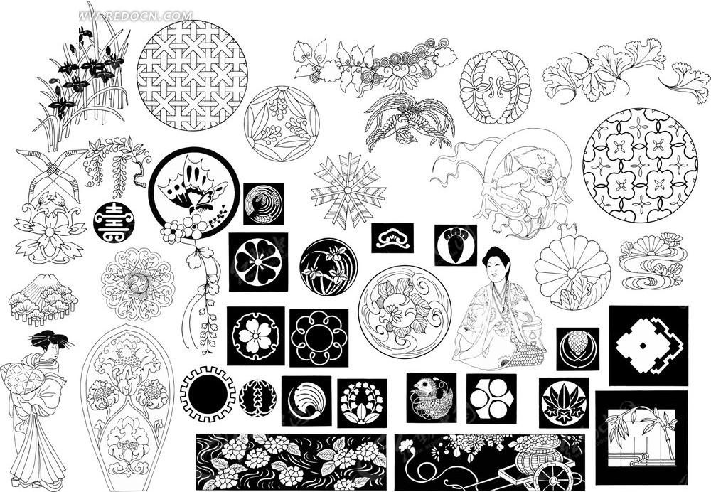 日本精美黑白动植物底图