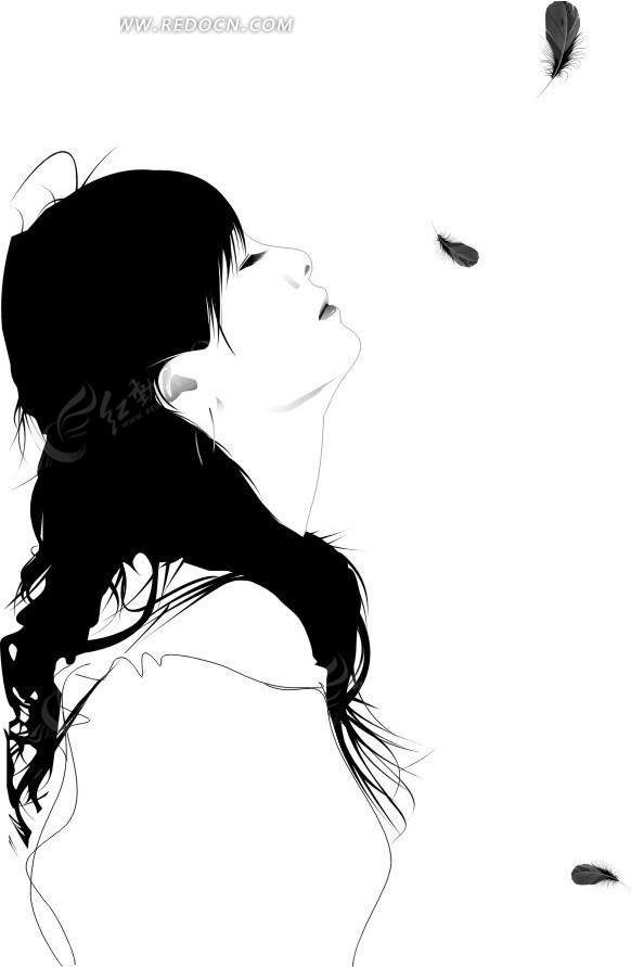 人物侧脸线描-手绘仰面美女侧脸矢量图CDR免费下载 卡通形象素材高清图片