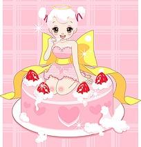 坐在蛋糕上的小女孩卡通插画