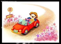 坐着红色跑车的小女孩卡通插画