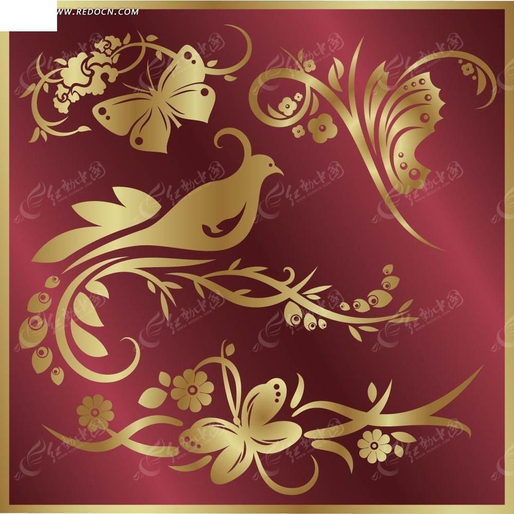 凤凰金色花纹素材