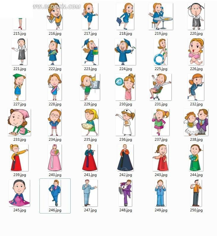 各种职业卡通人物形象ai素材免费下载(编号2690579)