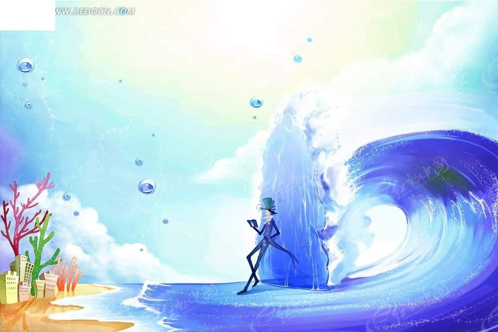 卡通海浪席卷动画背景psd