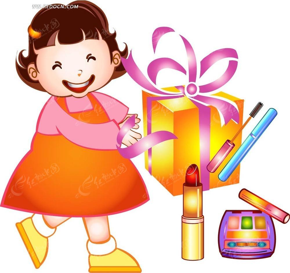 卡通化妆品礼盒素材