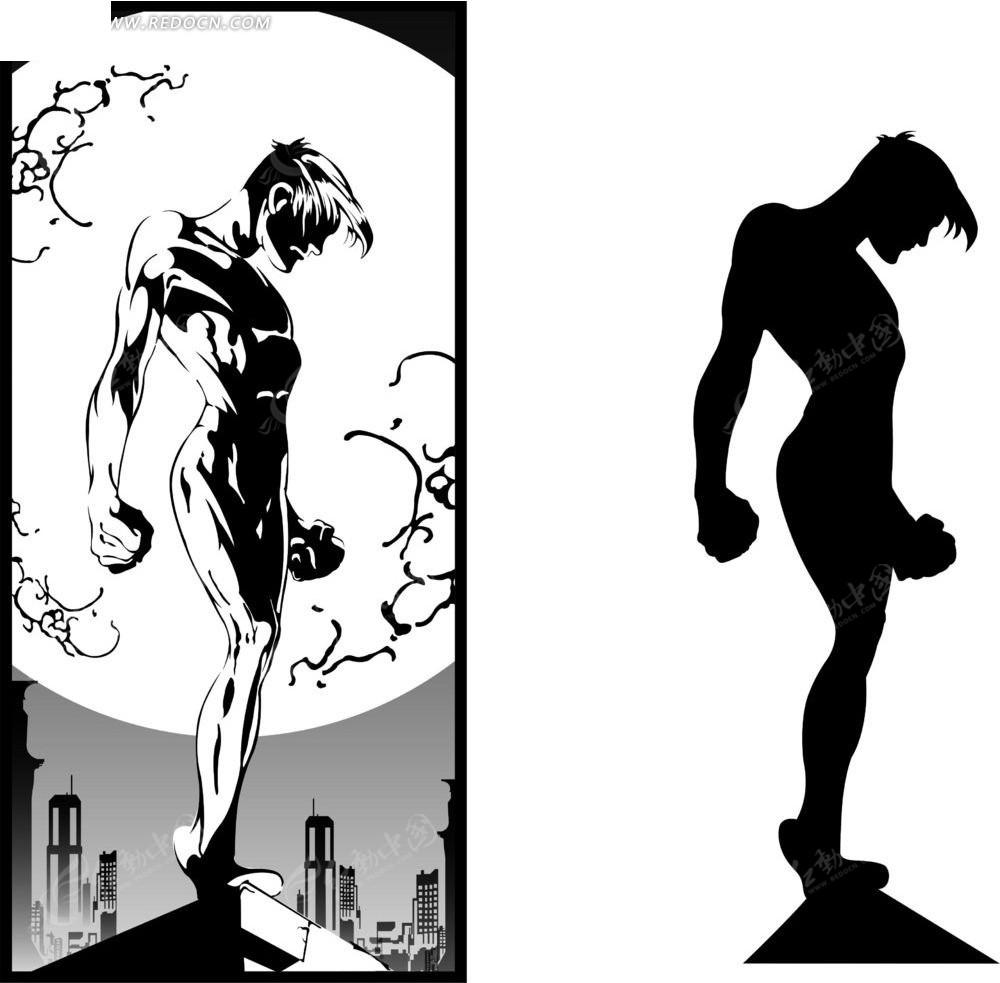 卡通肌肉男黑白线稿